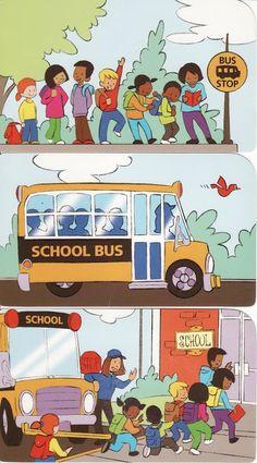 Picture sequence of kids in a school bus / secuencia de niños en un camión de la escuela