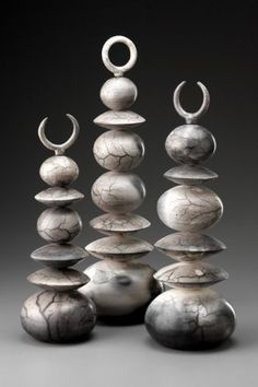 Rich Epstein | 'River Totems'  individual wheel thrown forms Raku fired in slip-resist technique
