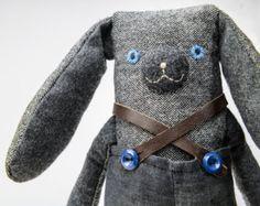 Bunny softie, stuffed animal art doll, wool plush, nursery accessory, baby shower gift, soft rabbit Foggiebop