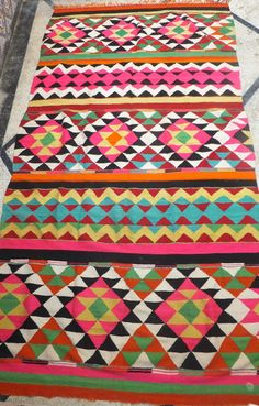 Vintage Moroccan Large Kilim Wool Rug Blanket Contemporary Modern Wall Art Painting Tapestry Boucherouite Tribal  5.8 X 11.8 FT
