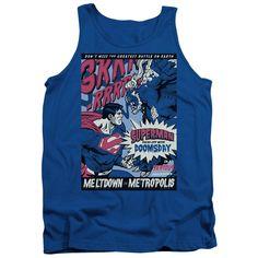 Superman Meltdown Royal Blue 100% Cotton Tank-Top T-Shirt