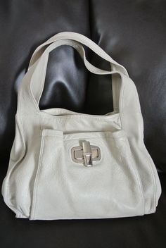 B. MAKOWSKY Purse Handbag Tan Taupe Leather 2 Straps Silver Turn Hardware NICE  #BMakowsky #ShoulderBag