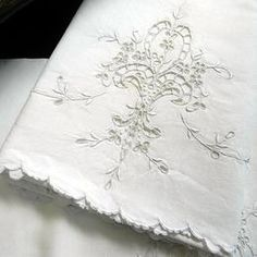 WHITE ON WHITE    Beautiful white table linens cutwork and embroidery