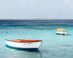 Anchored Boats Resting in the Bonaire Harbor