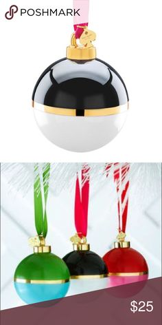Kate Spade be merry be bright ornament In black and white, gold stripe middle with ribbon and charm. New in box!  kate spade Accessories