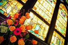 Arrangement inspired by stained glass!  www.fearlessentertaining.com How beautiful is this!!