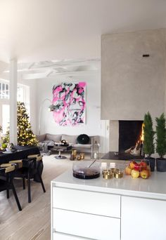 Stylish House in Oslo, kitchen, living room, white, christmas tree, fireplace, design, decor, interior