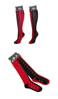 Harley Quinn Faux Lace Up Diamond Knee High Socks Batman And Superman, Knee High Socks, Harley Quinn, Geek Stuff, Lace Up, Diamond, Heels, Womens Fashion, How To Wear