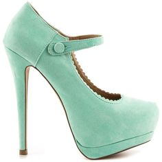 JustFab Women's Violett - Mint (355 HRK) ❤ liked on Polyvore featuring shoes, pumps, heels, sapatos, zapatos, green, green high heel pumps, high heel platform pumps, mary jane platform shoes and mint green shoes
