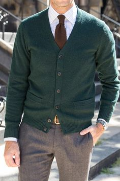 mens cardigan business casual outfit