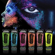 At Lights To Party we are super excited about our new UV Glitter face and body gels - check them out today! Body Gel, Glitter Face, Super Excited, Party Makeup, Photo Shoots, Face And Body, Cyber, Addiction, Halloween Face Makeup