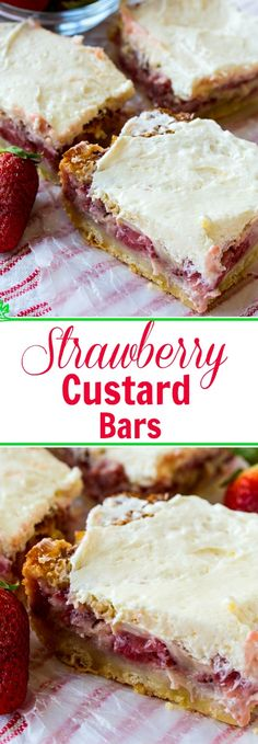 Strawberry Custard Bars make a great Spring dessert.