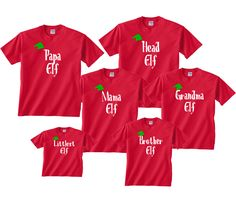 Personalized Family of Elves Matching Outfits All Sizes for Whole Family - Christmas T Shirt - Ideas of Christmas T Shirt - personalized family christmas tshirts Xmas Shirts, Vinyl Shirts, Christmas Shirts, Christmas Crafts, Christmas Ideas, Tee Shirts, Family Christmas Pajamas, Christmas Vacation, Christmas 2019