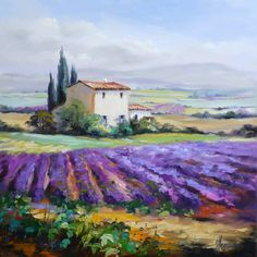 """Lavender in Provence"" by Ute Herrmann. An oil painting in the dimensions 50 x 50 cm. Scented rows of bright lavender, in the hazy background the mountains of Mont Ventoux. Landscape Artwork, Abstract Landscape Painting, Mural Painting, Watercolor Landscape, Watercolor Paintings, Acrylic Painting Techniques, Acrylic Painting Canvas, Canvas Art, Waterfall Paintings"