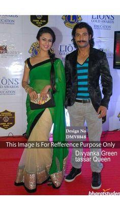 Divyanka tripathi Green with beige Georgette Saree With Velvet Blouse - DMV8848