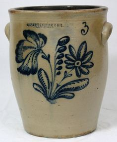 3 gallon cream pot with beautiful floral design