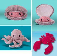 Surf's Up! Clam, Octopus, and Lobster Felted Knit Patterns