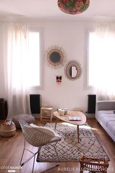 Salon déco avec un peu de scandinave, une touche ethnique et des petits accents vintage.