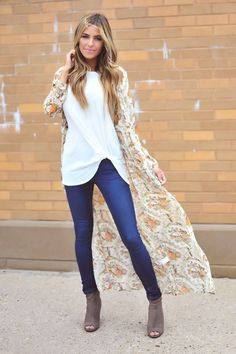Long Cardigans + Skinny Jeans + Fall Booties = Must Haves || More Fall Fashion at DottieCouture.com