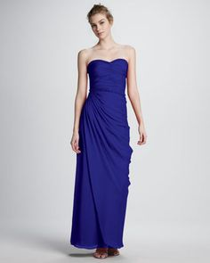 Aidan by Aidan Mattox Bead-Trim Strapless Ruched Gown - Neiman Marcus Strapless Cocktail Dresses, Strapless Dress Formal, Evening Dresses, Formal Dresses, Long Bridesmaid Dresses, Wedding Bridesmaids, Aidan Mattox, Beaded Trim, Dress Me Up