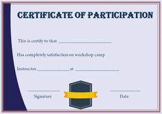 Certificate of participation in a workshop template certificate of certificate for participation in workshop template yelopaper Image collections