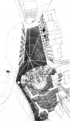 Perspectiva cónica de la plaza. Ampliación del Ayuntamiento de Murcia, España, 1991-1998. Tinta sobre papel. © Rafael Moneo / Cortesía Funda...