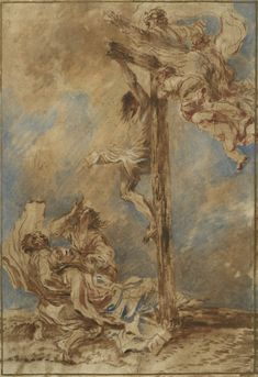 Giovanni Benedetto Castiglione – Crucifixion with the Virgin, Saints John and Mary Magdalene, and God the Father, c. 1651; Brush and brown oil paint with touches of blue, red and white | Clark Art Institute