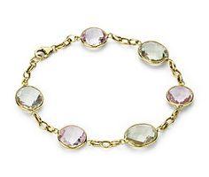 Lavender Amethyst and Green Quartz Bezel Bracelet in 14k Yellow Gold #bluenile