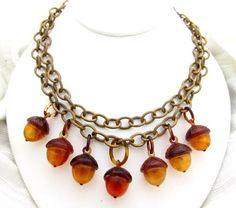 Brass & Celluloid Acorn Necklace