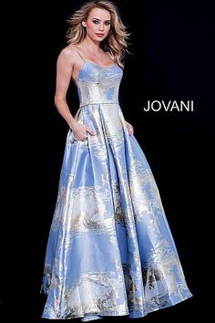 4f3d2aa5d11e Blue Gold Spaghetti Straps A Line Prom Gown 60331 #BlueGown #PromDress  #Prom2018 #