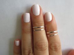 Silver Knuckle Rings  Silver Stacking rings Thin by HLcollection, $15.00
