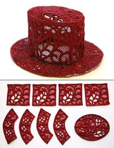 "Stitch out nine freestanding lace pieces, then assemble them into a dapper mini top hat. Embellish with ribbon, feathers, and jewels for a fashionable accessory. Size listed is for largest lace piece; finished hat is about 5"" wide by 2"" tall."