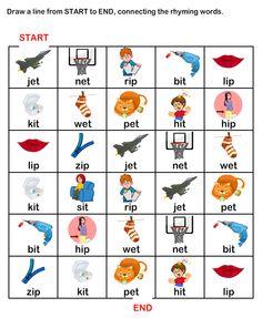 ESL-EFL Worksheets, Kindergarten Worksheets, Rhyme Time Worksheets