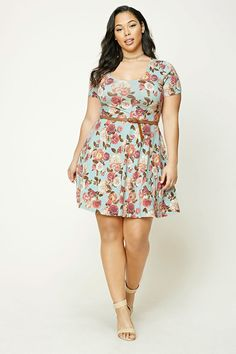 Forever 21+ - A knit skater dress featuring an allover floral print, a scoop neckline, short sleeves, and a removable distressed faux leather belt.