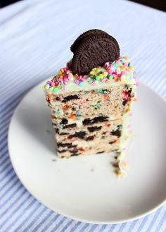 Dough Puncher: Oreo Funfetti Cake with Oreo Cheesecake Filling