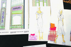 A costume sketch for She Loves Me by 2016 Tony-nominated designer Jeff Mahshie.