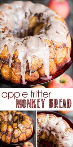 Apple Fritter Monkey Apple Fritter Monkey Bread combines homemade dough with a flavorful cinnamon sugar apple filling and sweet glaze for the ultimate overnight breakfast treat! Apple Monkey Bread, Cinnamon Roll Monkey Bread, Apple Fritter Bread, Apple Bread, Apple Fritters, Pillsbury Monkey Bread, Apple Dessert Recipes, Apple Recipes, Brunch Recipes