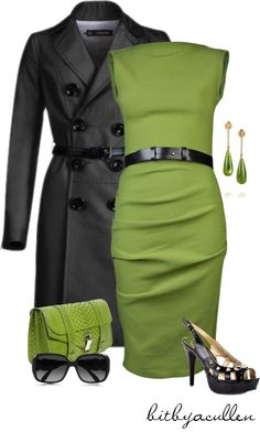 Green! by bitbyacullen  liked on Polyvore... though I think this color green would make me look ill I still like the color combo