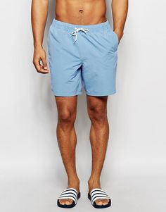Image 1 of ASOS Mid Length Swim Shorts In Dusty Blue