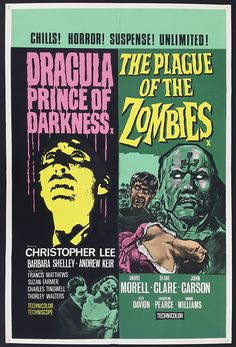 A 1966 double dose of Hammer Hammer Movie, Hammer Horror Films, Sci Fi Horror Movies, Hammer Films, Comedy Movies, Classic Monster Movies, Classic Monsters, Movie Poster Art, Film Posters