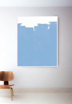 Light Blue Painting. Blue Abstract Art. Light Blue Art Print.