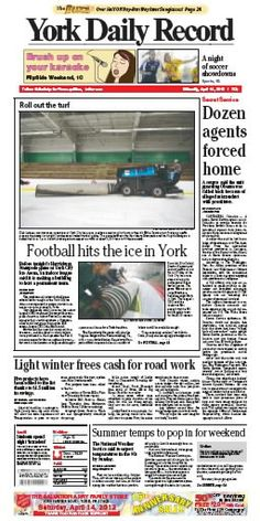 York Daily Record Front Page for April 14, 2012
