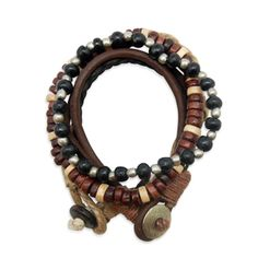 ($28.00) BRANDON BRACELET. Featuring rugged brown leather, black & brown wooden beads and smooth silver beads, this bracelet is a classic #masculine accessory.