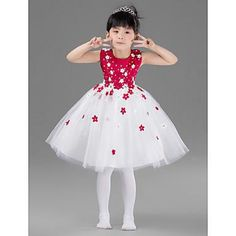 Flower Girl Dresses Knee Length White And Red Ball Gowns Kids ... www.aliexpress.com