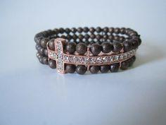 Side cross beaded bracelet by BNychele on Etsy, $16.00