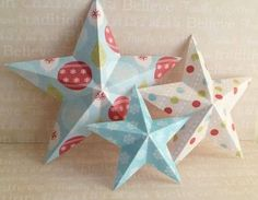 making christmas decorations 3d stars trio front photo