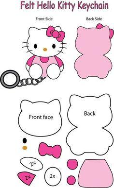 Queremos compartirles estos moldes para llavero de Hello Kitty con los cuales podrán hacer un lindísimo regalo para sus niñas más pequeñas