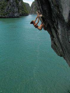 Beautiful view rock climbing over the lake Follow for follow, pin for pin!