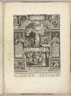 Philips Galle | Begraven van de doden, Philips Galle, 1577 | Het begraven van de doden als een van de zeven werken van barmhartigheid. In het midden een begrafenis. Op de achtergrond de graflegging van Christus. Rondom voorstellingen van Bijbelverhalen die te maken hebben met het begraven van de doden. Linksboven de begrafenis van Jozef, rechtsboven de begrafenis van Saul, rechtsonder Tobit die doden begraaft en linksonder de begrafenis van de godsman uit Juda. Links de profeet Ezra en…