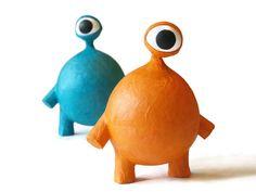 orange oddball with eyestalk - paper mache creature